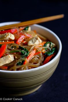 Asian Sweet Potato Noodles with Chicken & Vegetables...If you've never tried sweet potato noodles, now is the time! | cookincanuck.com #recipe