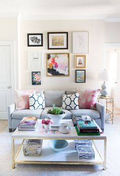 Preppy living room with matching decorative throw pillows