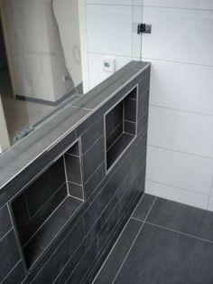 nissen verwerkt in de douchewand, ook mogelijk met TREL systemen. www.trelsystems.nl
