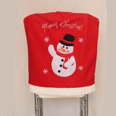Christmas Table Chair Back Covers Oranments Santa Snowman Claus Decoration