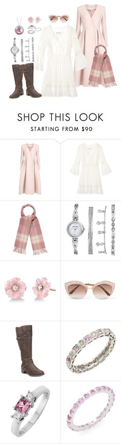 """""Throw and Go"" Dress w/Pink Coat and Scarf"" by snowflakeunique ❤ liked on Polyvore featuring Temperley London, Burberry, Anne Klein, Irene Neuwirth, Gucci, Easy Street, Sydney Evan, Casa Reale and Suzanne Kalan"