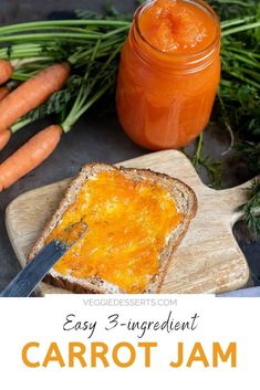 This delicious Carrot Jam is based on a recipe from 1861, and you only need 3 simple ingredients. It's bright, tasty and super-easy with no unusual equipment needed. It tastes like apricot jam, but only contains carrots, lemon and sugar. Enjoy carrot marmalade on toast, yogurt, pancakes and more. Chutney Recipes, Jam Recipes, Canning Recipes, Kitchen Recipes, Relish Recipes, Jelly Recipes, Carrot Jam Recipe, Carrot Recipes, Vegan Recipes Easy