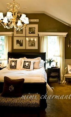 Love this Rich wall color in a bedroom!