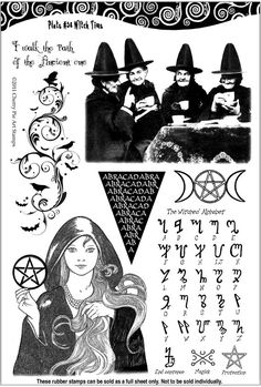 Witch Time- Halloween, Pagan Goddess, crones, Magic alphabet - set of UNmounted rubber stamps by Cherry Pie Wiccan Witch, Wicca Witchcraft, Wiccan Symbols, Mayan Symbols, Viking Symbols, Egyptian Symbols, Viking Runes, Ancient Symbols, Witches Alphabet