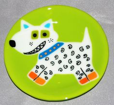 Happy Dog Fused Glass Plate White Dog on Green door OmegaArtDesign, $85.00