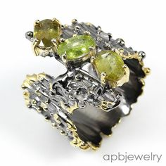 Handmade Fine Art Natural Sphene 925 Sterling Silver Ring Size 8.5/R35156 #APBJewelry #Ring