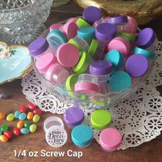 48 Clear JARS aqua lime pink purple Caps Makeup Sample container 3301 1tsp DECO #DecoJars