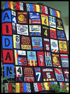 "T-shirt / Sports Jersey Quilt        Another pinner said ""This is Why I've Been Saving All My Son's Sport T-Shirts.. From T-Ball on.. I plan on Making one for him as a Graduation Gift!!!"""