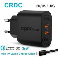 CRDC USB Charger Universal For Qualcomm 2 Port Quick Charge 3.0 Travel Phone Charger for iPhone ...