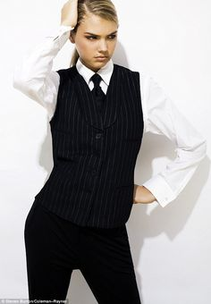 Masculine look with this black pinstriped vest for girls