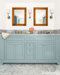 Add some color to your bathroom cabinets like in this Massachusetts farmhouse bathroom. Grey Bathrooms, Beautiful Bathrooms, Small Bathroom, Bathroom Vintage, Master Bathroom, Light Bathroom, Italian Bathroom, Condo Bathroom, Bathroom Flooring