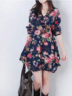 Free Shipping Plus Size Women Clothing New Fashion 2014 Autumn Vestido Floral Print Linen Casual Loose Long Sleeve Short Dresses-in Dresses from Apparel & Accessories on Aliexpress.com | Alibaba Group