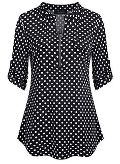 Find Oyamiki Women Casual V-Neck Long Sleeve Zip Up Shirt Chiffon Polka Dot Blouse Top online. Shop the latest collection of Oyamiki Women Casual V-Neck Long Sleeve Zip Up Shirt Chiffon Polka Dot Blouse Top from the popular stores - all in one Chiffon Blouses, Chiffon Shirt, Shirt Blouses, Chiffon Tops, Tunic Tops For Leggings, Long Sleeve Tops, Long Sleeve Shirts, Skinny Dress Pants, Camisa Formal