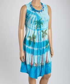 Another great find on #zulily! Turquoise Palm Embroidered Dress - Plus #zulilyfinds