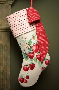 this is the cutest stocking made from a vintage linen