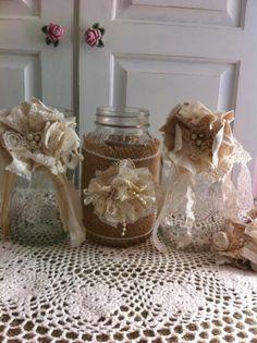 Set of 6 Mason Jar Decorations/ Wedding Decor/ by DolledandDazzled, $25.99
