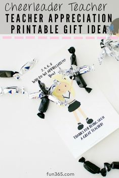 Show your appreciation to the teachers in your life with this adorable school spirit cheerleader gift! Cheerleader Gift, Cheerleading Gifts, Teacher Appreciation Gifts, Teacher Gifts, Diy Wedding Projects, Classroom Inspiration, School Spirit, Party Planning, Free Printables