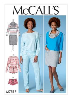 McCall's loungewear sewing pattern. M7517 Misses' Batwing Top, Dress and Romper, and Drawstring Shorts and Pants