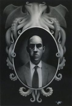 Lovecraft and Cthulhu - MORE AT http://fckyeahhplovecraft.tumblr.com/