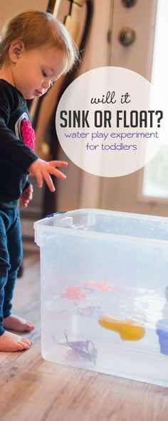 A simple sink or float experiment is perfect for water-loving toddlers to find out what will float at the top or sink to the bottom via @handsonaswegrow