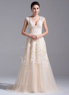 A-Line/Princess V-neck Court Train Tulle Wedding Dress With Beading Appliques Lace (0025061168) - Vbridal