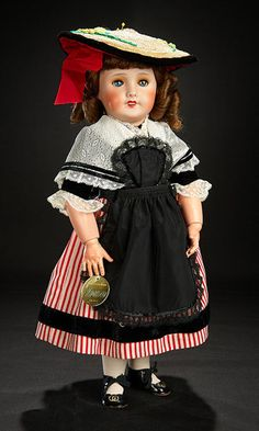 French Bisque Bebe in Original Traditional Costume of Nice with Jumeau Gilt Label All Black Suit, Wearing All Black, Antique Lace, Antique Dolls, Vintage Dolls, Doll Costume, Costumes, French Costume, Bisque Doll
