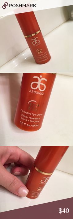 Arbonne RE9 eye cream Used Arbonne RE9 corrective eye cream.  See pic for how much is left (above the NAIL), hardly any used.  This did not work out for my skin type at all.  Feel free to make an offer. Arbonne Makeup
