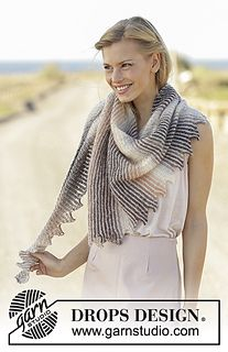 Knitted shawl with stripes and tips in DROPS Delight and Kid-Silk.