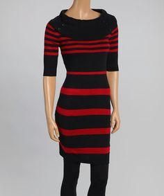 Look what I found on #zulily! Black & Red Zinfandel Variegated Stripe Cowl Neck Sweater Dress by Cherry Stix #zulilyfinds