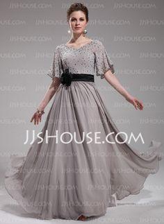 A-Line/Princess V-neck Floor-Length Chiffon Charmeuse Evening Dresses With Ruffle Sash Beading (017019724)