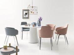 Chaise contemporaine / en cuir / en tissu / en coquille ROC by Uwe Fischer COR