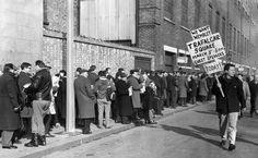 Spurs fans queue for quarter final ECWC tickets v Slovan Bratislava. 1963.