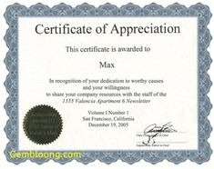Nice Editable Certificate Of Appreciation Template Example With