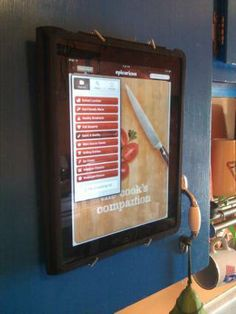 The $3 iPad DIY Wall Mount ~~ Perfect for when I use my iPad as a cookbook