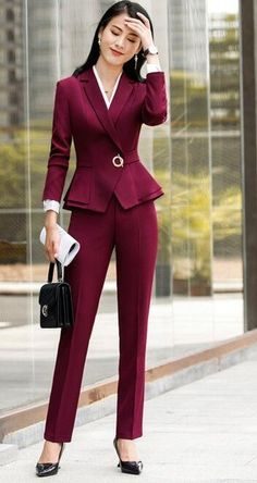 High quality winter suit for women two pieces set formal long sleeve slim blazer and trousers office ladies plus size work wear - Wine red pant-blazer - & Sets, Pant Suits # Casual Work Outfits, Office Outfits, Work Casual, Casual Office, Outfit Work, Stylish Office, Casual Wear, Fashion Night, Suit Fashion