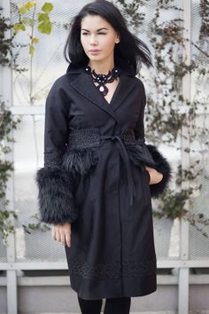 Black jacquard coat with fake fur and decorative trimming by JennyJeshko on Etsy