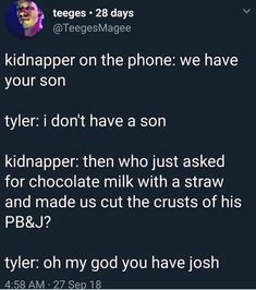 I can imagine Tyler teaming up with Blurryface to save josh, meanwhile josh is completely fine and the kidnapper has some random kid that Tyler doesn't even know of. Tyler Joseph, Tyler And Josh, Emo Band Memes, Emo Bands, Music Bands, Twenty One Pilots, Twenty One Pilot Memes, Josh Dun, Random Kid