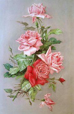 Huge Discount Print FREE SHIP Pink Cabbage Roses Catherine Klein Half Yard Long CP37 via Etsy
