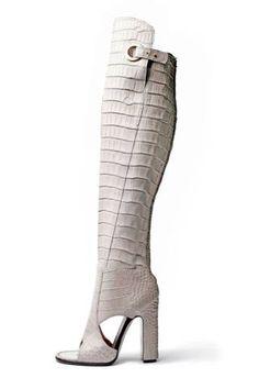 salvatore ferragamo white crocodile boots