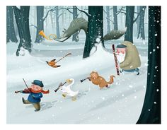 Watch out for the Wolf! Illustration © David DePasquale 2012 Peter and the Wolf Music For Kids, Kids Songs, Children's Book Illustration, Watercolor Illustration, Cartoon Illustrations, Peter Wolf, Sergei Prokofiev, Watercolor Wolf, Red Riding Hood