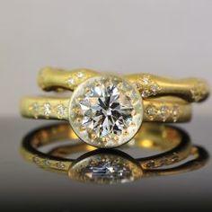 Hand Etched Bezel Set Diamond Engagement Ring