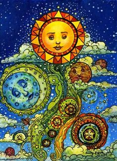 The Sky in Motion Sun Moon Stars Celestial Watercolor Astrology Fantasy Art Giclee Print by cgbartwork on Etsy Celestial Art, Moon Art, Stars And Moon, Fantasy Art, Painting, Art, Cross Paintings, Abstract, Moon Stars Art