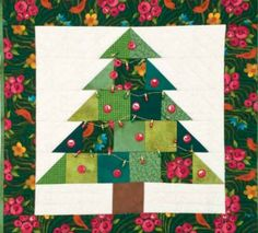 christmas decorations, free holiday quilt pattern new version of the CHristmas tree wall quilt
