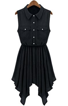 Black Sleeveless Asymmetric Pleated Hem Shirt Dress