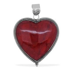 Liquidation Channel: Royal Bali Collection Enhanced Coral Pendant in Sterling Silver (Nickel Free)