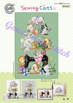 Sewing Cats cross stitch pattern or kit. SODAstitch SO-G122