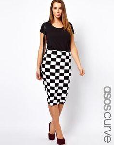 ASOS Curve   ASOS CURVE Skirt In Checkboard Print at ASOS