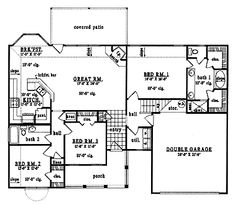 3 bedroom ranch floor plans three bedroom ranch for Square footage of 12x12 room