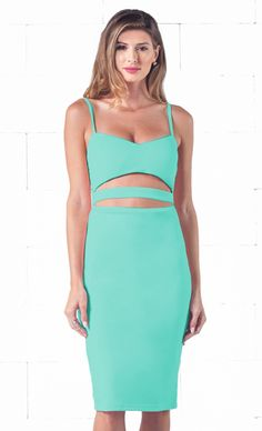 Indie XO Seductive Tease Mint Green Spaghetti Strap V Neck Cut Out Waist Zip Back Bodycon Midi Dress - Just Ours!