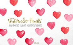 watercolor hearts clip, hand painted by Autumn Breeze on @creativemarket